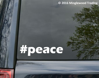 """Peace #peace Hashtag vinyl decal sticker 5"""" x 1.25""""  *Free Shipping*"""
