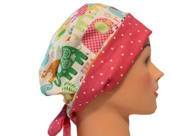Scrub Hat Surgical Scrub Cap Chemo Hat Tie Back Flirty Front Fold Pixie Elephants Blue Green Orange Pink Yellow Dots  2nd Item Ships FREE