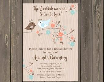 Lovebirds  Bridal Shower Invitation, Bird Bridal Shower Invitation, Rustic Bird Bridal Shower Invite with Bride and Groom, DIY or Printed