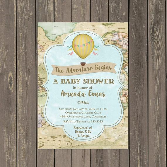 world adventure baby shower invitation hot air balloon shower,