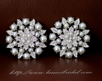 2pcs Crystal Rhinestone and Faux Pearl Wedding Bridal Shoe Clips,silver or gold color shoe clips
