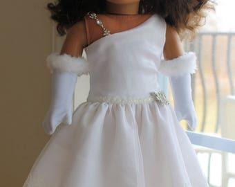 Snow Princess White Satin Dress Ensemble