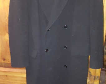 Vtg. Canadian Black Wool Double Breasted Coat  Fit According to Measurements Listed