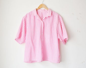 pink and white striped oversized button down shirt 80s // L-XL