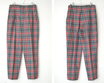 SALE // checked tartan plaid high waist pants trousers 90s // L