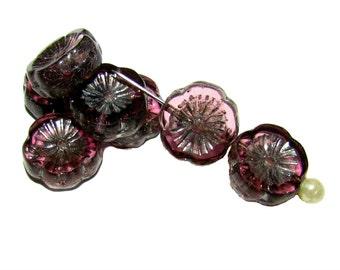 6pcs Czech Glass Beads Table Cut Flower 12 mm Amethyst Silver Picasso  (TCF013)