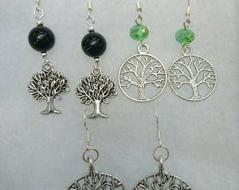 Handmade Tree of Life dangle earrings with black onyx agate beads, facetted green glass beads or no bead