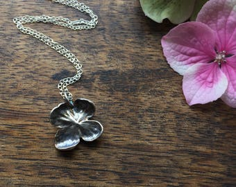 Sterling silver flower necklace, hydrangea necklace