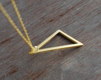 Triangle . Long minimalistic gold plated  necklace