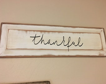 Thankful Sign//Fall Decor//Thanksgiving Decor//Rustic Wood Sign//Wall Art//Kitchen Signs//Fall Sign//Rustic Home Decor//Farmhouse Signs//
