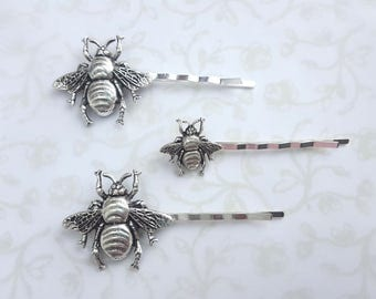 Silver Bumble Bee Bobby Pins in Two Sizes - Hair Pin Woodland Boho Wedding Bridal Hair - Sweet As Honey, Queen Bee, Bees Knees