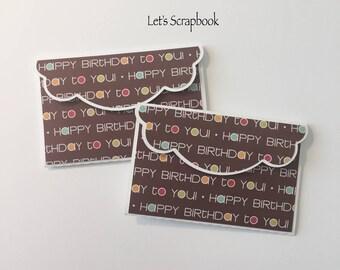 2 Mini Envelopes, Gift Card Holder, Paper Piecing, Die Cut, PreMade, Handmade,Birthday, Boy, Girl