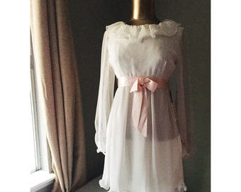 1960's White and Pink Babydoll Dress