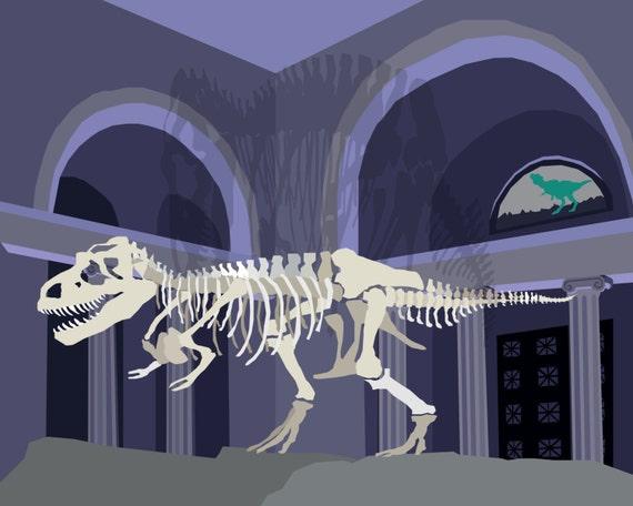 T Rex Dinosaur Field Museum Chicago Matted Print