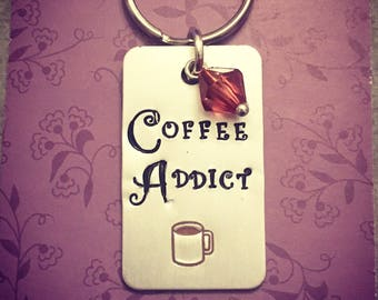 Coffee lover gift. Coffee addict gift. Coffee keychain, coffee keyring. Coffee gift, present. Free uk p&p