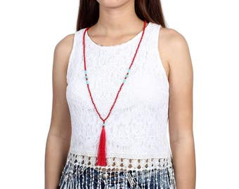 Tassel Necklace - Red and Turquoise (028N) - Thailand Fair Trade