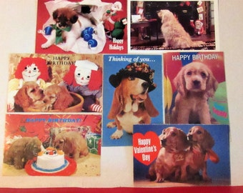 14 Vintage Dog Post Cards, (some duplicates) 1980's