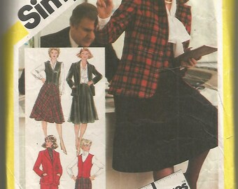 5245 Simplicity Sewing Pattern Skirt Straight Leg Pants Lined Vest Unlined Jacket 39B Vintage 1980s