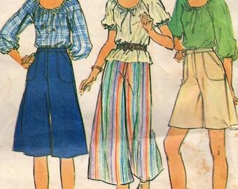 5062 McCalls Sewing Pattern Drawstring Neckline Blouse & Culotte UNCUT Size 10 Vintage 1970s Factory Folded