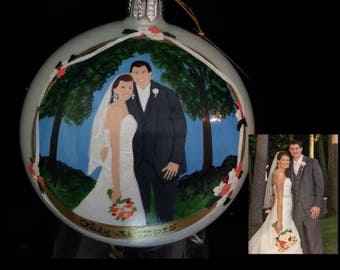 Custom Wedding Ornament Hand Painted and Personalized Christmas Bulb