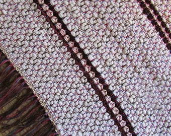 White with Wine Accent OR Tan with Brown Accent Woven Rug