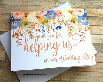 Thank You For Helping Us on our Wedding Day, Wedding Day Thank You Card, Attendant, Best Friend, Wedding Planner Thank You - AUTUMN BLOOMS