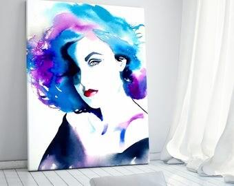 Glamour Art Print Fashion Illustration Audrey Original Watercolor Painting Portrait Blue Purple Spa Salon Decor 1990s, Hair Salon Art