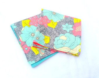 Teal and Coral Pink Flowers Double Sided Cloth Napkins -Set of Two Spring Butterfly Cloth Napkins