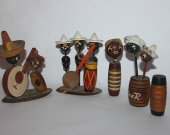 Collection of whimsical Caribbean figures, wooden, souvenir folk art, vintage
