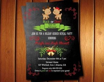 Buck or Doe Gender Reveal Invitation   Christmas Gender Reveal Invitation