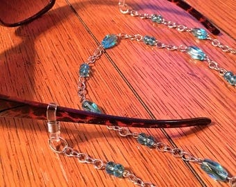 Eyeglasses Chain. Blue Glass Beads on Silver chain.