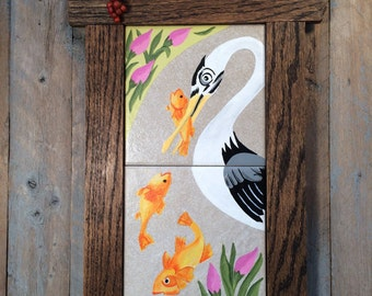 Quirky Art Nouveau Spoonbill Catching Fish, Hand Painted Art Tile of Blackface Spoonbill Bird with Hand-Crafted Mission Style Oak Frame
