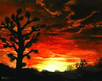 """Desert Sunset Southwest Landscape Painting, Print from Original Watercolor Painting 10x14""""  Home & Office Painting, Decor"""