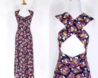ON SALE Vintage 1990s Dress | 90s Floral Print Maxi Sundress | Pink Purple | M L