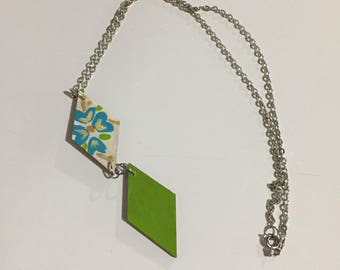 Hand painted wooden pendant necklace