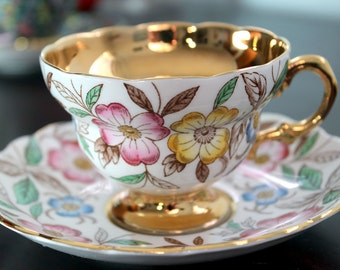 Rosina Heavy Gold Pink Yellow Blue Teacup Saucer