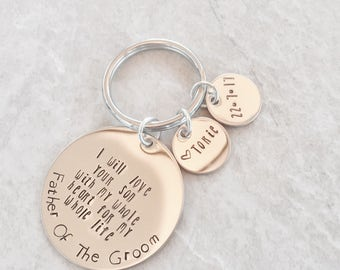 Father of the Groom Father of the Bride personalized father's keychain dad keychain gift for dad wedding gift wedding date monogrammed