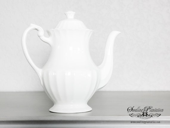 Vintage Ironstone Teapot, Coffee Pot, Tea Set- French Country Shabby Chic Farmhouse