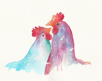 Two Hens oringinal painting by Lesley Ann A4