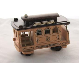 Vintage Wooden Trolley Car Music Box, San Francisco Trolley Car