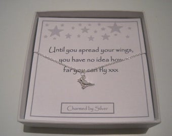 Sterling Silver Sparrow Bird Charm Necklace