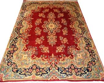 Vintage Kerman Red Low Pile 7x10 Persian Rug Handwoven