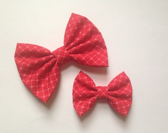 Red with pink hearts valentine's handmade fabric hair bow or headband