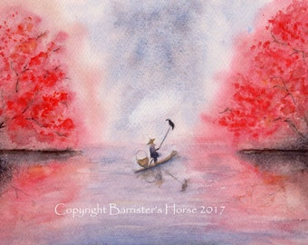 CORMORANT FISHING, fine art, Giclee Watercolour Painting Print A4. Archival quality inks