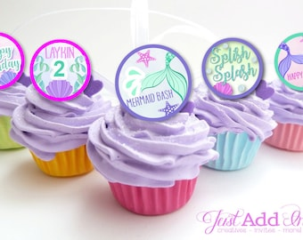 Under the Sea Cupcake Toppers, Mermaid Party, Personalized Mermaid Cupcake Toppers, Printable, DIY
