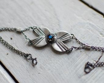 Massive silver bracelet, labradorite, gypsy, nature, symbol, minimalist