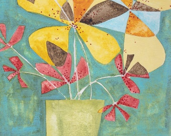 Abstract flowers vase bouquet, print of original painting