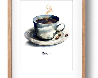 Coffee, Espresso, Gift for Him, Gift for Her, Coffee Illustration, Watercolor Illustration, Kitchen Art, Watercolor Painting, Coffee Mug