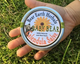 Calendula Salve - Natural Baby Salve - Organic Lotion Ointment Cream - Apricot Seed Oil - Children - Kids - Baby - Diaper Rash Cream