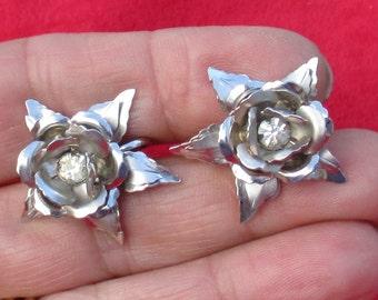 Vintage BN Flower Shaped Rhinestone Screw On Earrings